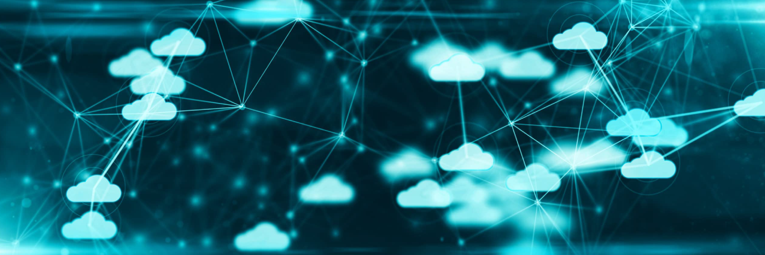 Clouds connected by lines depicting Sangoma's Cloud Communications Services