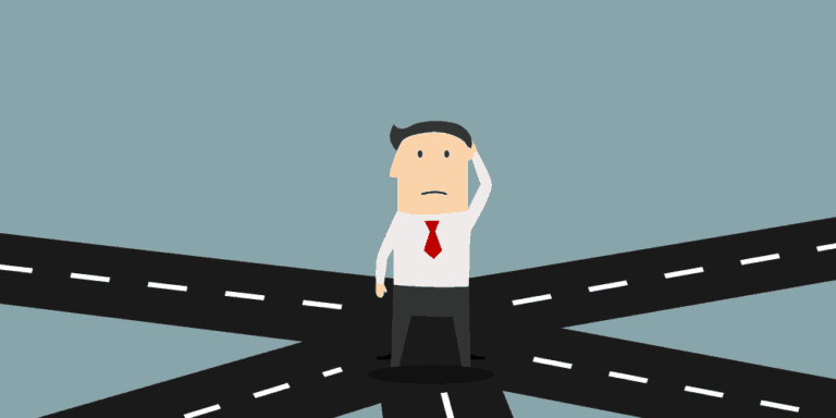 cartoon image of man standing at crossing roads