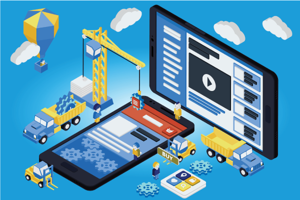 3D illustration of tablet and mobile phone with construction workers, trucks and clouds