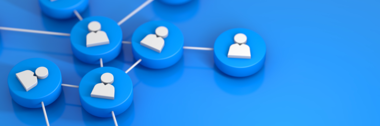 Connected 3D blue circles with people icons