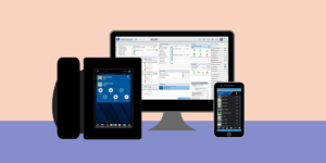 graphic rendering of desk phone, desk top monitor, and cellphone