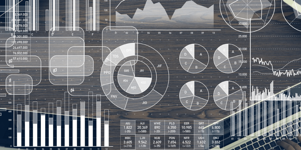 black and white graphic with charts and graphs