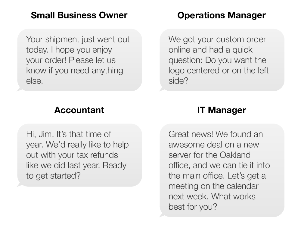 Text messages from different departments - A small business owner, an operations manager, an accountant, and an IT manager.
