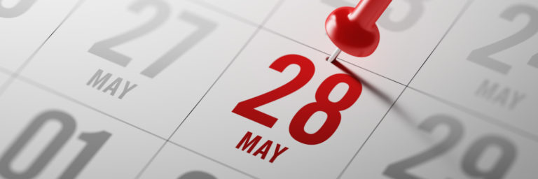 May 28th marked on a calendar with a red pin to signify the day SSL Certificate Expiration is happening.