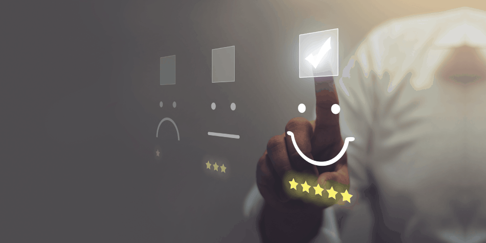 person selecting a checkbox above a smiling face image