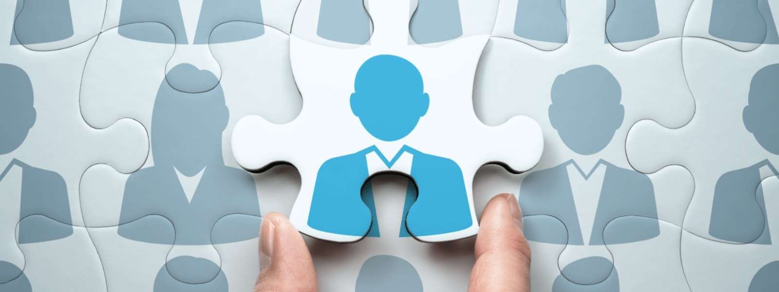 Choosing a business phone system blog image depicted with a puzzle piece being put into place connecting team members