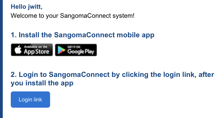 Sangoma Connect Email Example