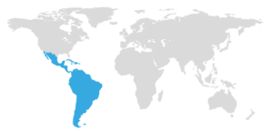 map with Latin America highlighted