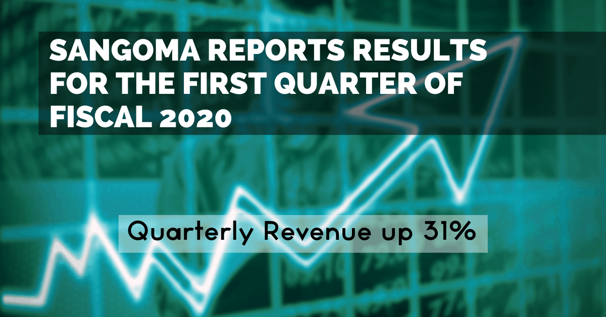 Sangoma Reports Results For the First Quarter of Fiscal 2020 Quarterly Revenue up 31%