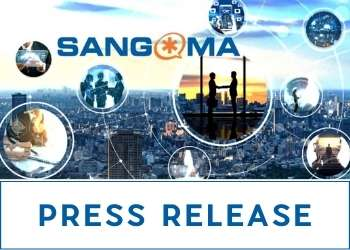 Sangoma Press Release - Unified Communications displayed in bubbles on the background of a busy cityscape.