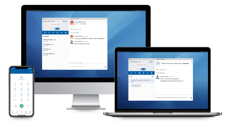 Sangoma - Softphone Options displayed on PC, Laptop, and Mobile Device