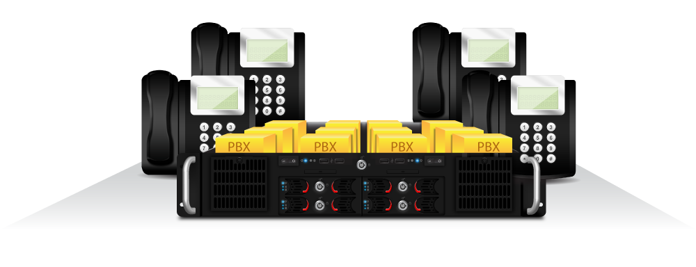 PBX surrounded by office phones